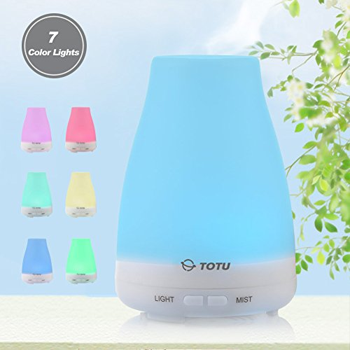Best Essential Oil Diffuser, TOTU Ultrasonic Aromatherapy Humidifier with Diffuser, Capacity of 100ml,Silence Cool Mist/ 7 LED Colors/ Waterless Auto Off, Portable For Home, Bedroom, Office, Spa, Yoga Review