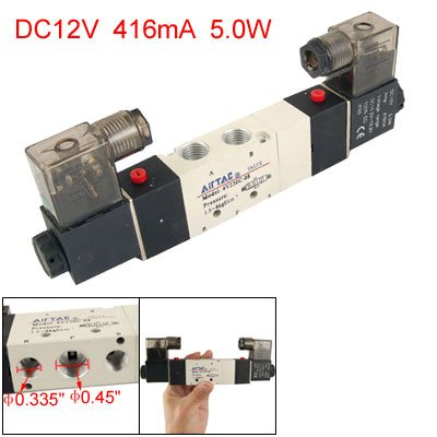 uxcell DC 12V 4V230C-08 Inner Guide Type 3 Position 5 Way Solenoid Valve (12 Valve Exaust compare prices)