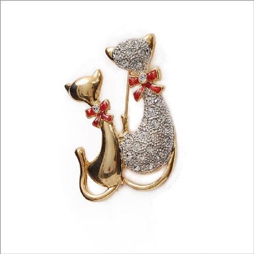 Fashion Trendy Two Cats Brooch #007039
