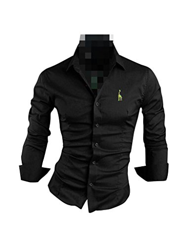 Zacoo Herren Frühling schlank passen dünne Langarmshirts Hemden Größe L Schwarz
