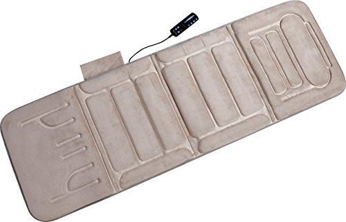 Relaxzen 60-2907P08 10-Motor Massage Plush Mat with Heat, Beige