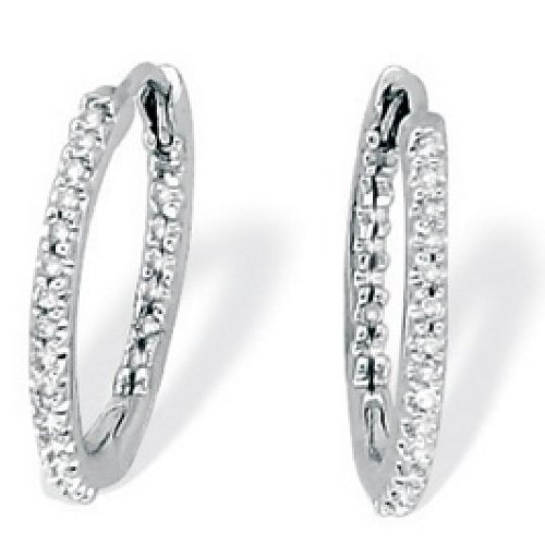 Paris Jewelry 1/2 Carat Genuine Diamond InsideOutPlatinum Hoop Earrings