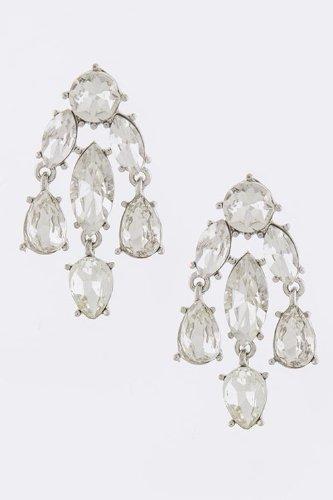 Karmas Canvas Crystal Chandelier Earrings (Clear/Silver) front-998118