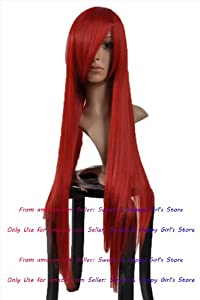 NEW HOT sexy Supper Long Red Straight Anime cosplay wigs party Masquerade girls 80CM