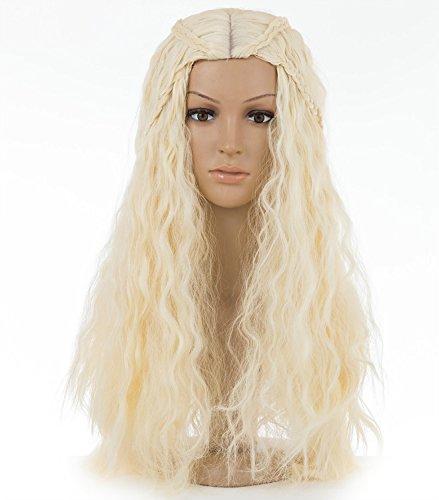 Spretty La Parrucca Game of Thrones Khaleesi Daenerys Targaryen Costume Wig Long Curly Fluffy Braided Hair in Beige