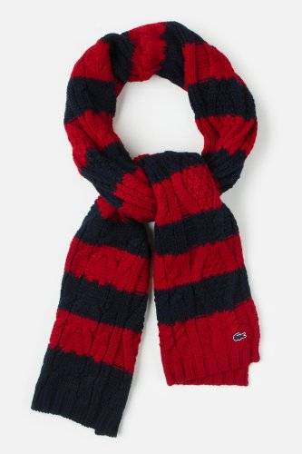 L!VE Women's Bi-color Bold Stripe Cable Knit Scarf
