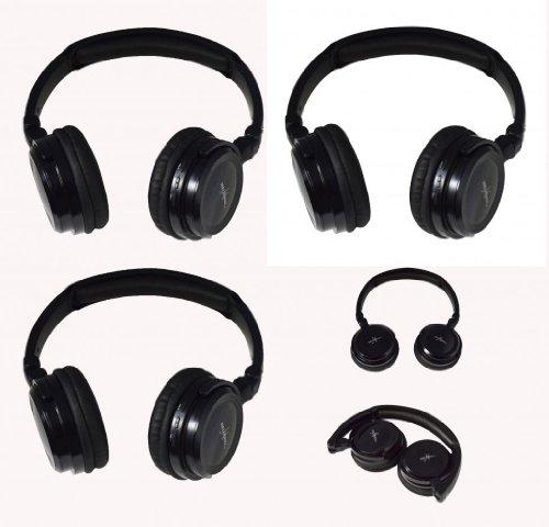 Three Pack Of Two Channel Fold Flat Adjustable Child-Adult Size Universal Rear Entertainment System Infrared Headphones Wireless Ir Dvd Player Head Phones For In Car Tv Video Audio Listening