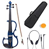 Cecilio 4/4 CEVN-2BL Solid Wood Blue Metallic Electric / Silent Violin with Ebony Fittings in Style 2 (Full Size)