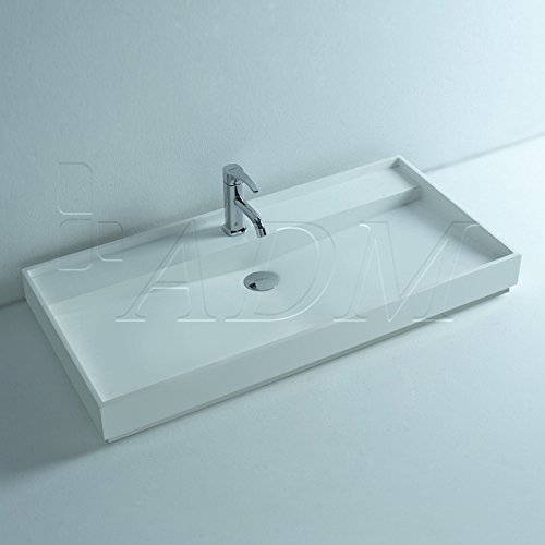 ADM Bathroom Design Matte White Stone Resin Sink DW-184