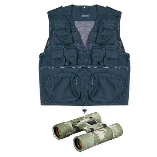 Humvee Hmv-Vc-Bk-M Combat Vest In Black Medium Size W/ 10X25 Dc Rubber Coated Compact Binocular In Digital Camouflage