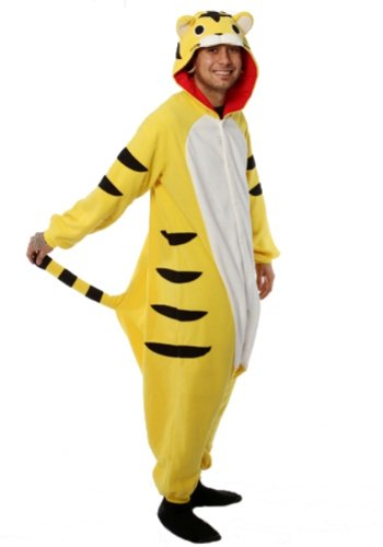 "Fierce Yellow Tiger Kigurumi - Adult ""Angry Tiger"" Halloween Costumes Pajama"