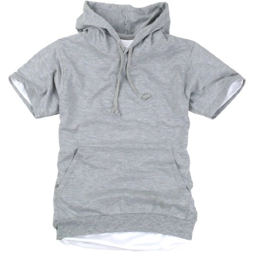 ililily Canvas short sleeve pullover hooded cotton lightweight sweatshirt for Men (hoodies-002-2-S)