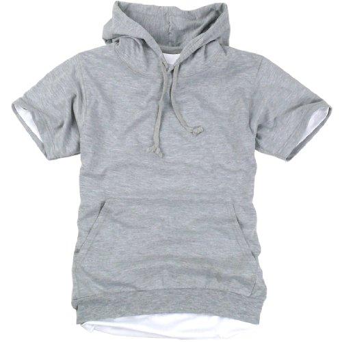 ililily Canvas short sleeve pullover hooded cotton lightweight sweatshirt for Men (hoodies-002-2-S)