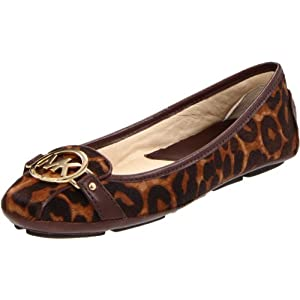 Michael Michael Kors Women's Fulton Ballet Flat,Luggage Printed Haircalf,5 M US