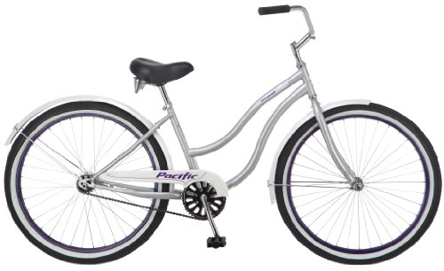 Buy Discount Pacific Women's Oceanside Cruiser Bicycle (26-Inch Wheels), Silver, 16-Inch