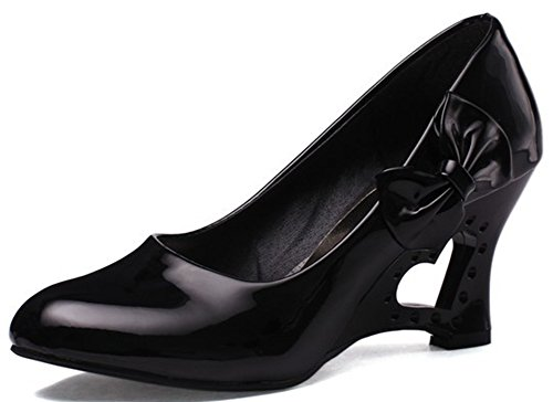 IDIFU Women's Sweet Bow Wedge Heart Kitten Heels Pumps Work Office Shoes