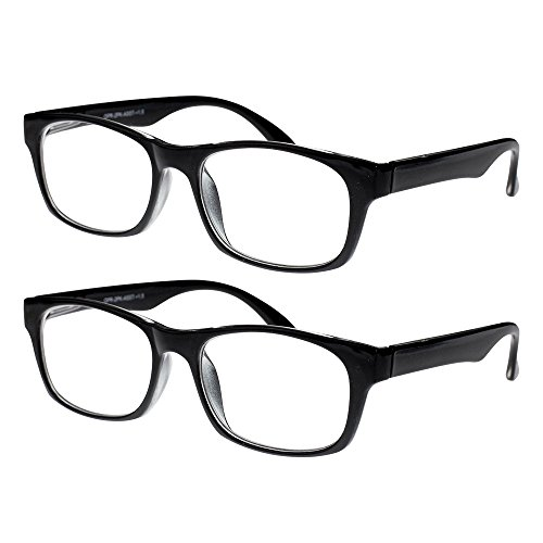 Reading Glasses, Prescription Eyeglasses For Men, Two Pack of Fashion Readers in Black, +350, By Optiplix (Full Reading Glasses compare prices)