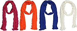 Ami Dupattas Women's Cotton Dupattas- Pack of 4 (Dark Orange, Royal Blue, Off White and Rani Pink)