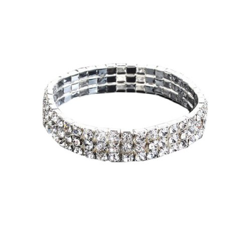 3 Rows Diamante Rhinestone Stretch Bracelet Bridal Wedding Party Jewellery