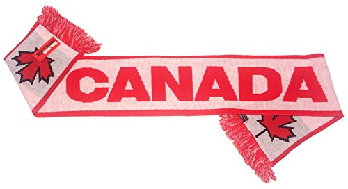 International Soccer Canada Jacquard Knit Scarf, One Size, Red/White (Canada Soccer compare prices)