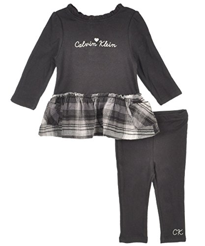 Calvin Klein Baby-Girls Newborn With Plaid Ruffle Tunic With Leggings, Black, 3-6 Months