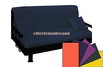 Divano Prontoletto Brontolo PIAZZA E MEZZA completo di braccioli e schienale tubolare (Blu tinta unita)
