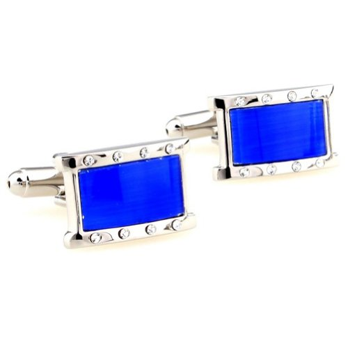 Beour White-gold-plated-silver Blue and Silver Romantic Copper Rectangle Cufflinks