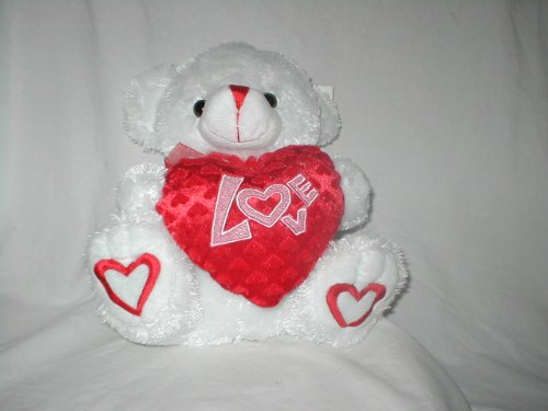 41tyaqKUmNL Buy  White Plush 12 Inches Sitting Teddy Bear with Heart with Love in Pink Glitter Letters