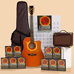 esteban coral sun acoustic electric guitar package w amplifier accessories and 10. Black Bedroom Furniture Sets. Home Design Ideas