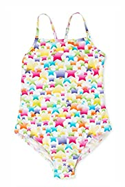 Square Neck Star Print Swimsuit
