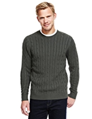 2in Longer Blue Harbour Pure Cotton Cable Knit Jumper