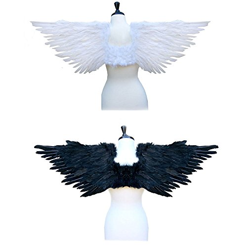 SACAS Large Feather Halloween Costume Angel Wings 2 colors Black or White