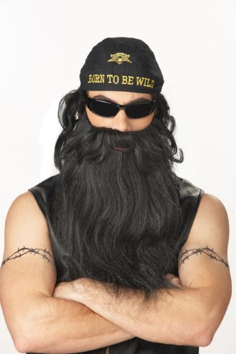 California Costumes Biker Beard And Moustache, Black/Grey, One Size Costume Accessory - 1