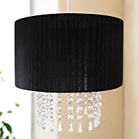 Black Voile Pendant Ceiling Light Shade with Hanging Beads by Beam Feature by Home Discount