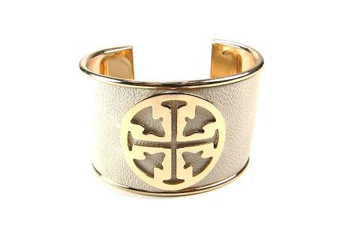 Womens Fashion Designer Inspired Gold Off White Beige Cuff Bangle Bracelet