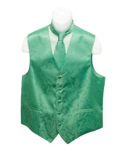 Fine Brand Shop Men's Jade Green Paisley Jacquard Suit Vest and Neck Tie Set - X-Large