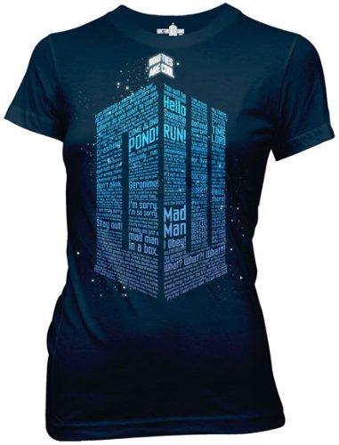Doctor Who Logo of Words Junior's Black T-shirt