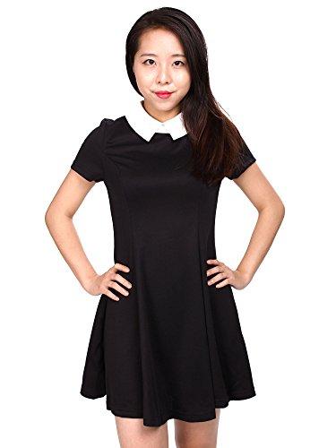 Simplicity Casual Black Dress with Classic Peter Pan Collar, Knee Length