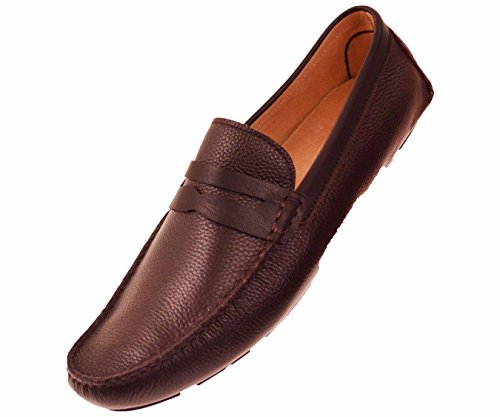 Slip On Penny Loafer Driving Moccasin Shoes in Brown Pebble Grain Leather