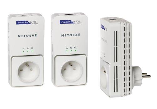 NETGEAR - XAV5501+XAVB5501 - PACK DE 3 ADAPTATEURS CPL ETHERNET POWERLINE AVEC PRISE FEMELLE INT�...
