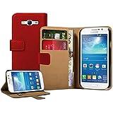 Membrane - Rot Brieftasche Klapptasche Hülle Samsung Galaxy Grand (GT-i9080 / i9082 Duos) - Wallet Flip Case Cover Schutzhülle