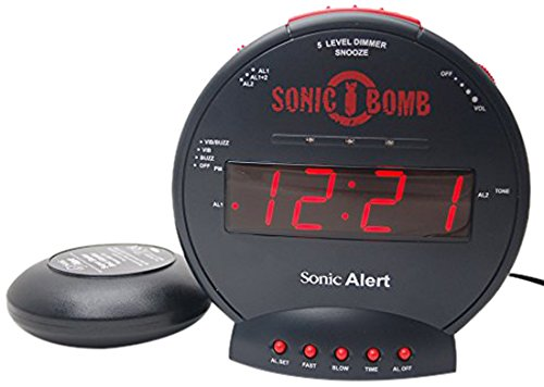 Sonic Bomb SBB500SS Loud Plus Vibrating Alarm Clock - Black- UK Version