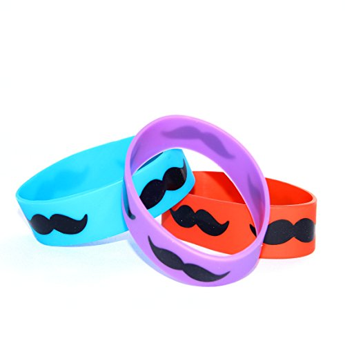 Dazzling Toys Jumbo Mustache Rubber Bracelets - Pack of 12 (D084)