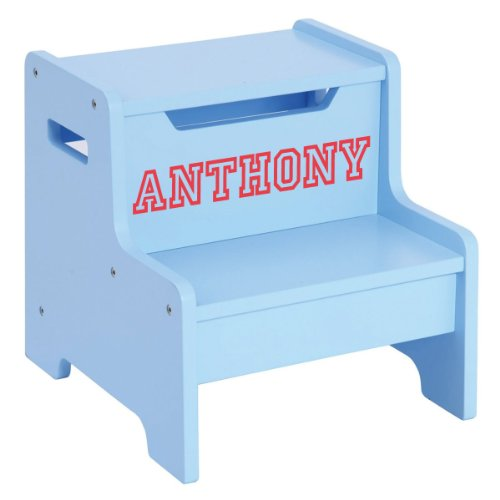 Personalized Guidecraft Step Stool With Red Letter Lettering - Light Blue, Anthony