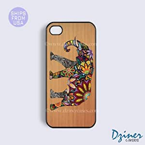 iPhone 6/6S Tough Case - 4.7 inch model - Wood Colorful Elephant iPhone Cover (NOT REAL WOOD)