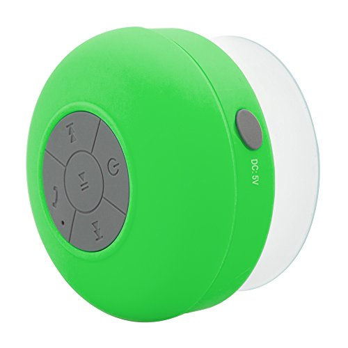 Soundplus Waterproof Portable Bluetooth Shower Speaker, 6 Hours Playtime, with Built in Mic. Green