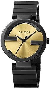 Gucci Men's YA133209 Gucci Interlocking Collection Analog Display Swiss Quartz Black Watch