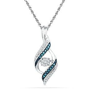 Twinkle Diamond Pendant with Blue Diamonds 10k White Gold