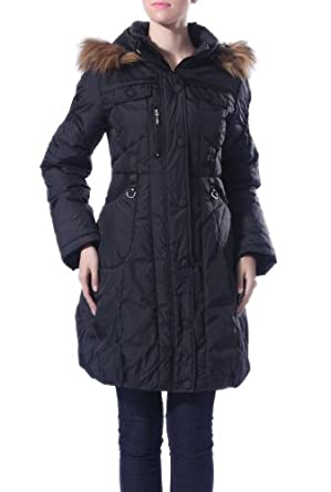 Jessie G. Women's Hooded Quilted Pattern Detail Down Coat with Faux Fur Trim - Black Large