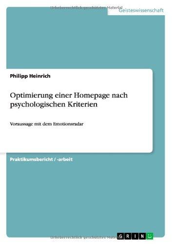 Optimierung Einer Homepage Nach Psychologischen Kriterien (German Edition)